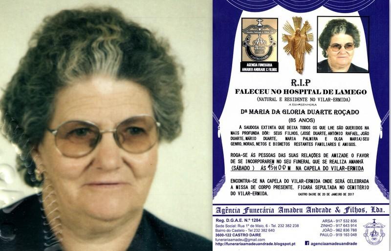 FOTO E RIP.DE MARIA GLORIA DUARTE ROCADO-85 ANOS (