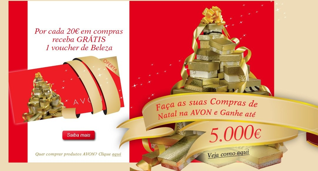 Catalogo Natal voucher beleza ganhe 5000€ avon