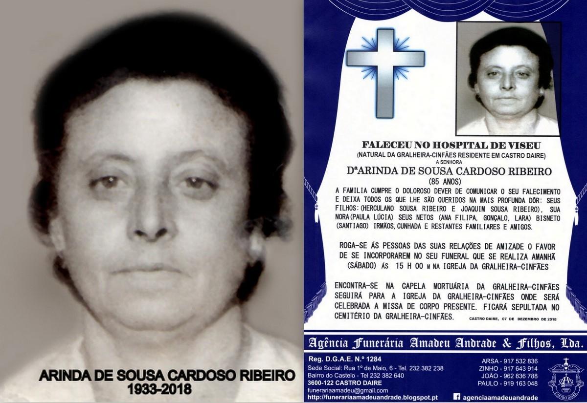FOTO RIP -ARINDA DE SOUSA CARDOSO RIBEIRO -85 ANOS