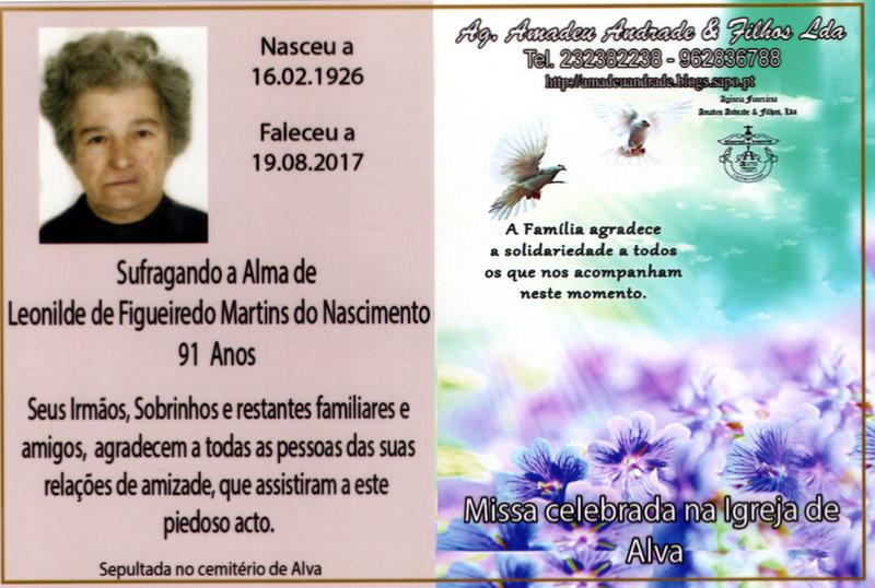 CARTÃO  DE LEONILDE DE FIGUEIREDO MARTINS DO NASC