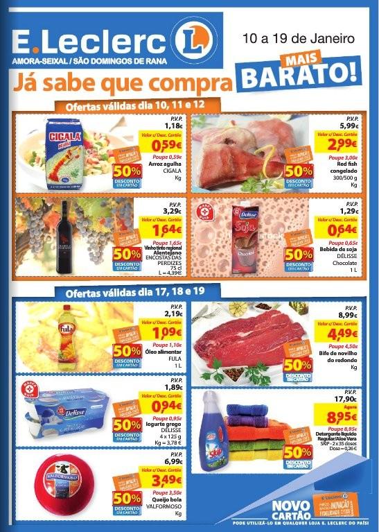 Antevisão folheto | E-LECLERC | Amora-Seixal e S. D. Rana, de 10 a 19 janeiro