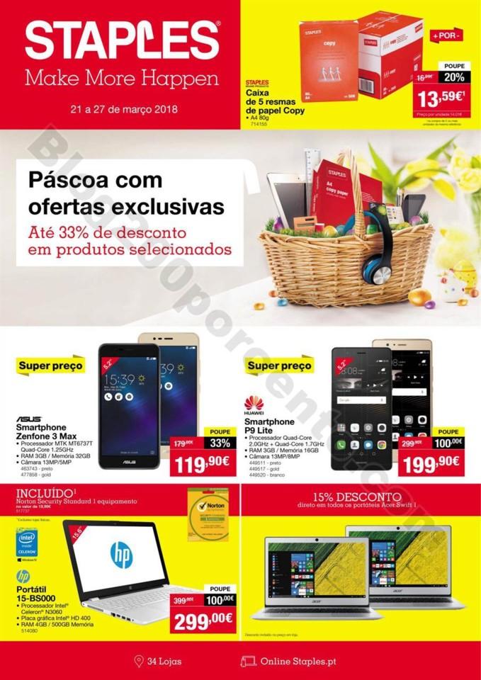 Antevisão folheto STAPLES promoções de 21 a 27