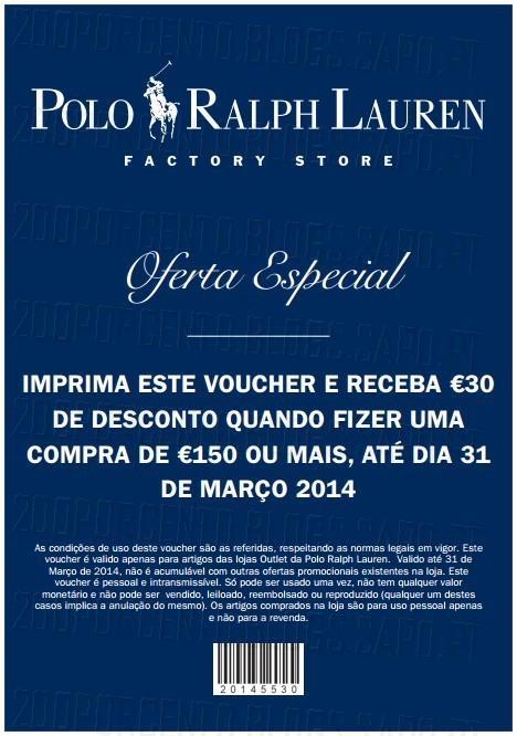 Vale de 30€ | RALPH LAUREN | até 31 março