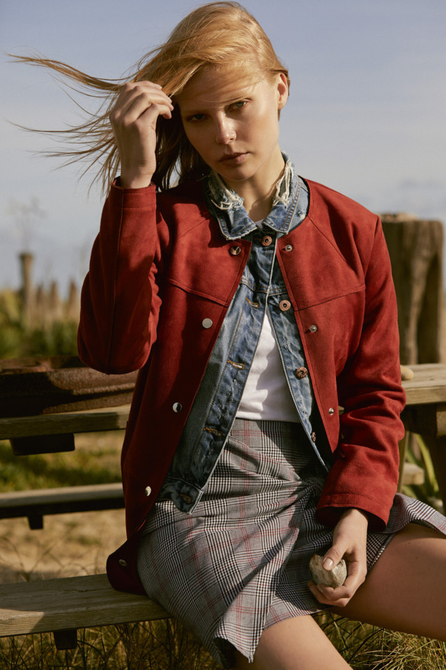 Coat E30, Denim Jacket E19, T-shirt E3.50, Skirt E