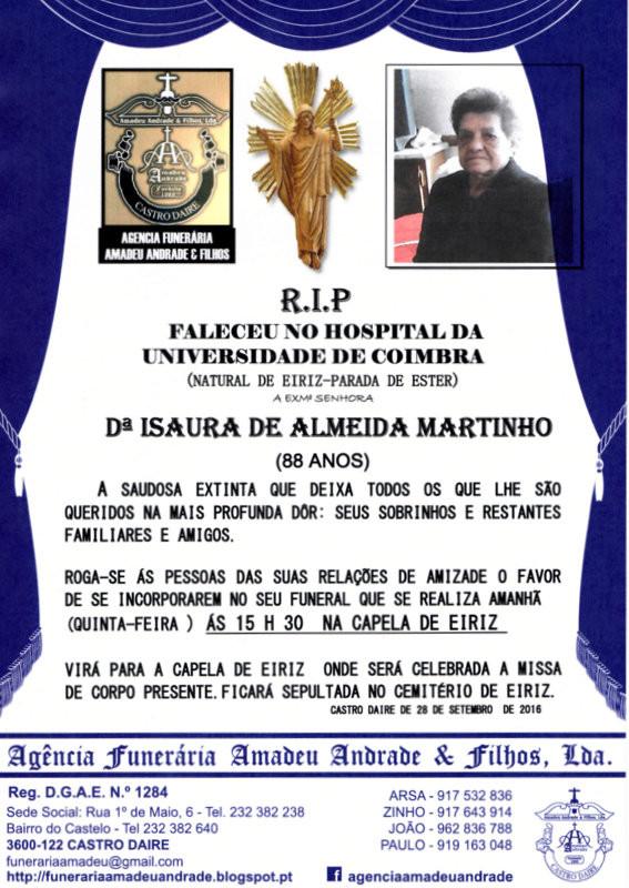 RIP -ISAURA DE ALMEIDA MARTINHO  (EIRIZ-CASTRO DAI
