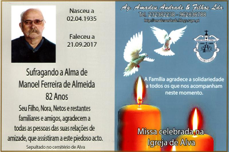 CARTÃO DE AGRADECIMENTO-MANOEL FERREIRA DE ALMEID