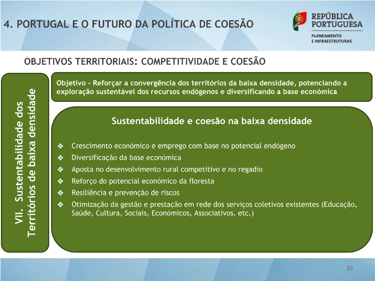 QUADRO - Sustentabilidade e coesão na baixa densi