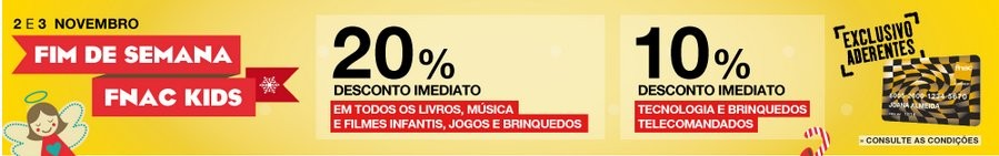 20% de desconto | FNAC KIDS | 2 e 3 novembro