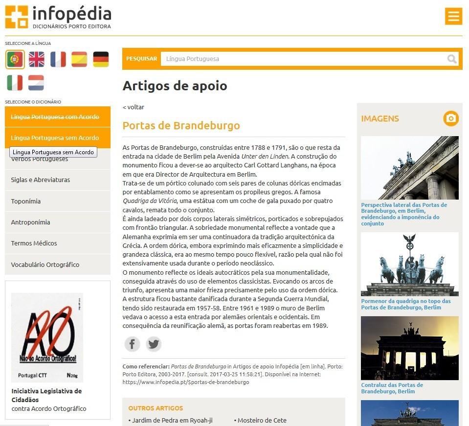 «Portas de Brandeburgo» in Infopédia, Porto, Porto Editora, 25/III/2017.