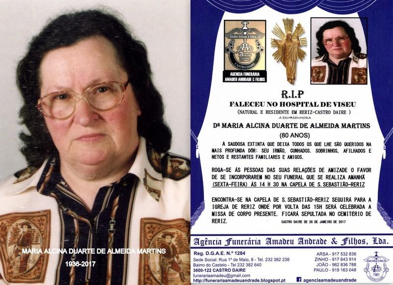 RIP-FOTO  -MARIA ALCINA DUARTE DE ALMEIDA MARTINS