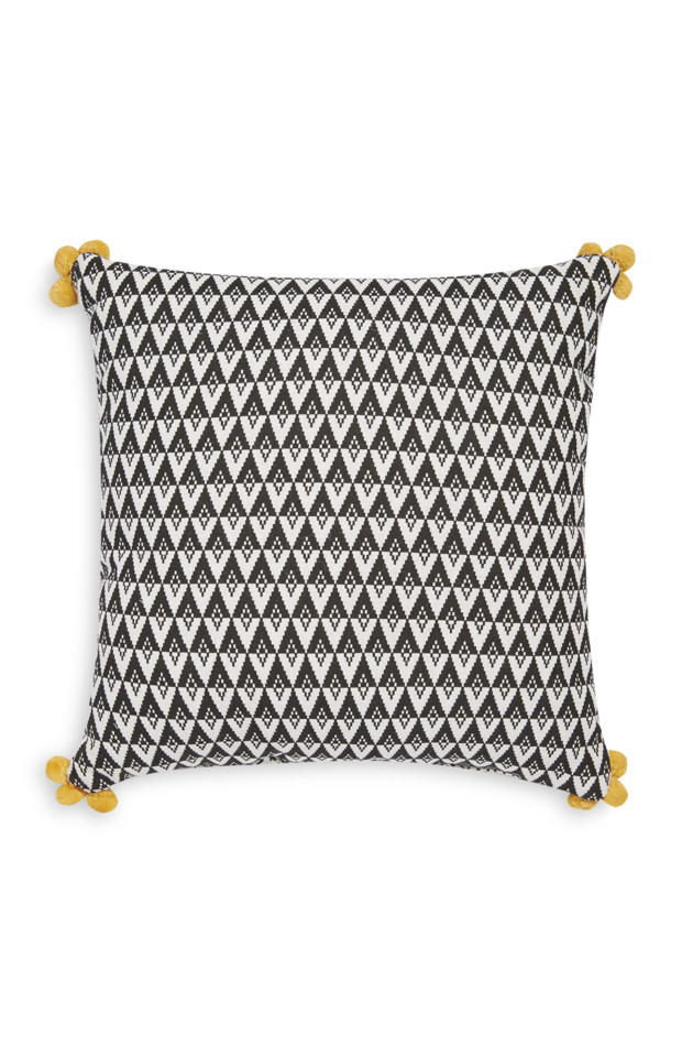 Kimball-0404201-Pom Pom Ornament Cushion White Bla