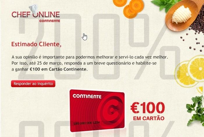 Passatempo Chef Online | CONTINENTE | é simples !
