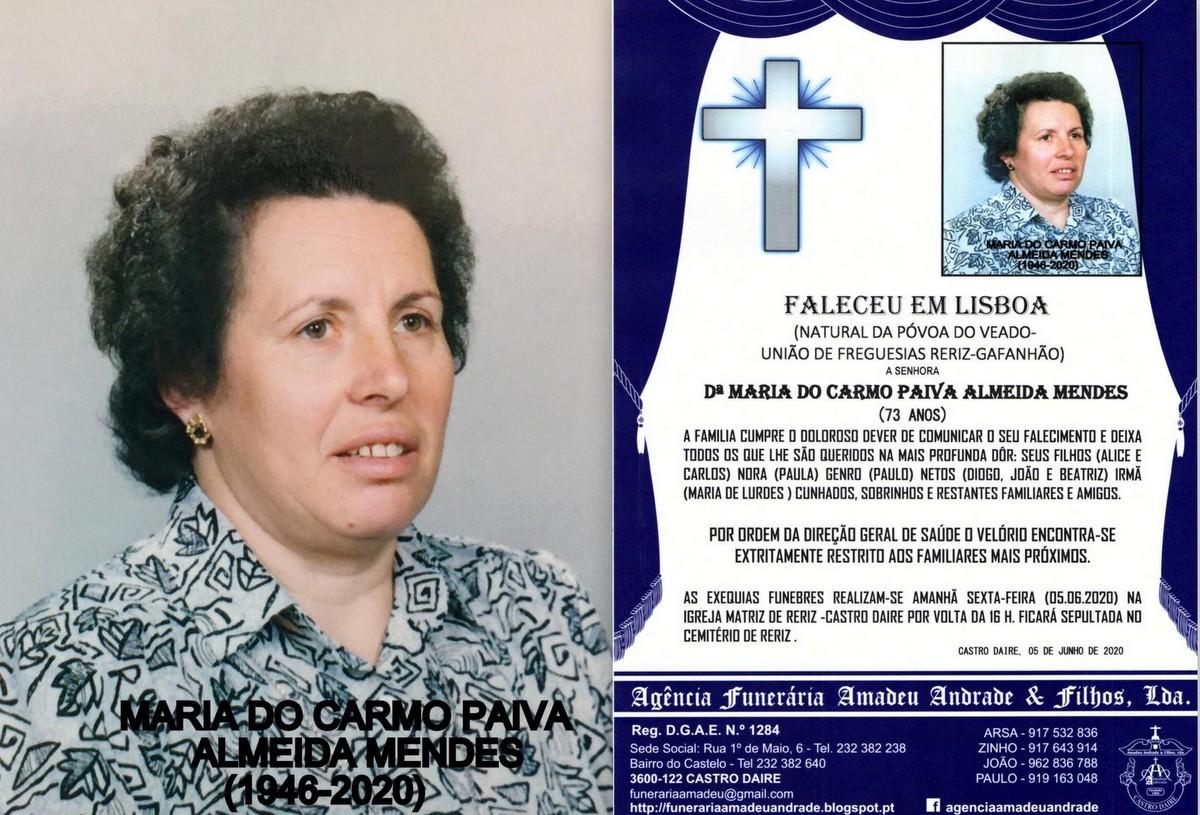 FOTO RIP  DE MARIA DO CARMO PAIVA ALMEIDA  MENDES-