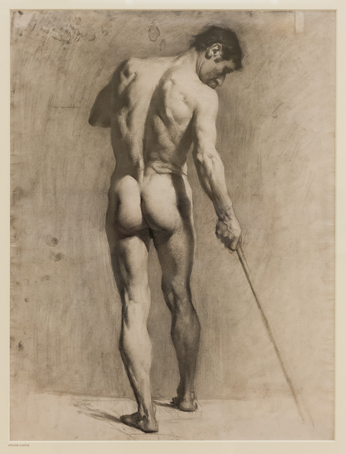 """Life drawing of a male nude with a cane"" (Adolphe Valette), Manchester Art Gallery, Manchester"