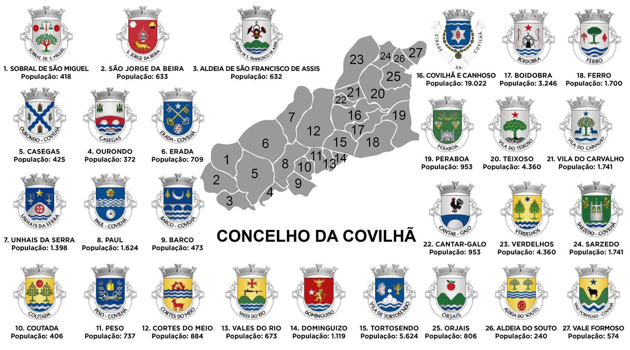 mapa do concelho da covilhã Município da Covilhã   memoriasdacovilha mapa do concelho da covilhã