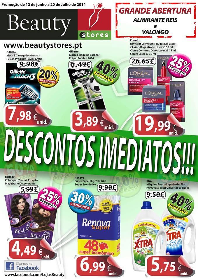 Novo Folheto Beauty Stores Descontos Imediatos - de 12 de junho a 20 de julho