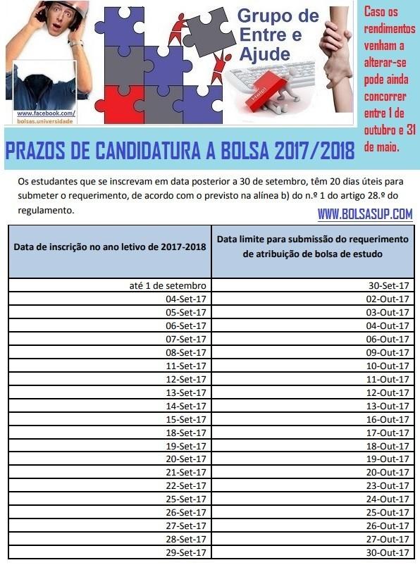 Bolsas de Estudo 2017_2018_Prazos apos 30 de setem