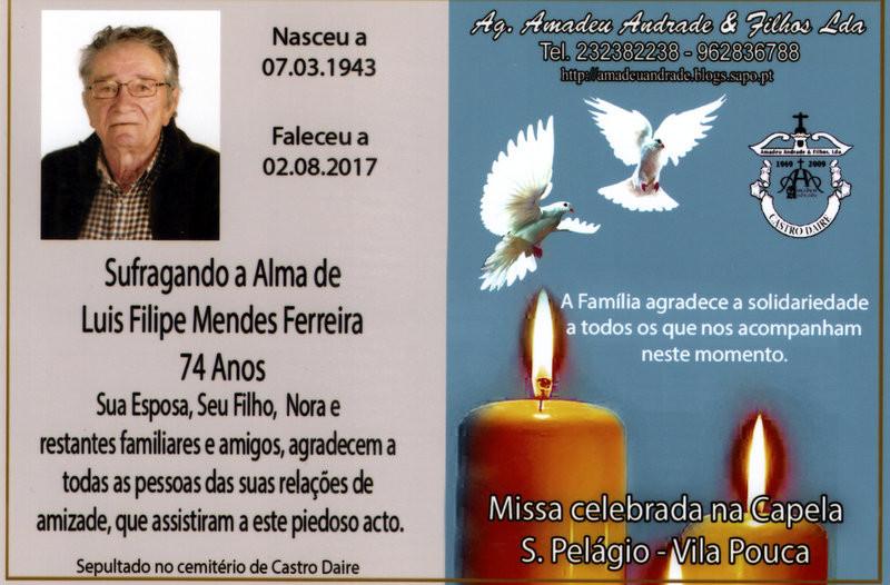 CARTÃO DE LUIS FILIPE MENDES FERREIRA-74 ANOS (VI