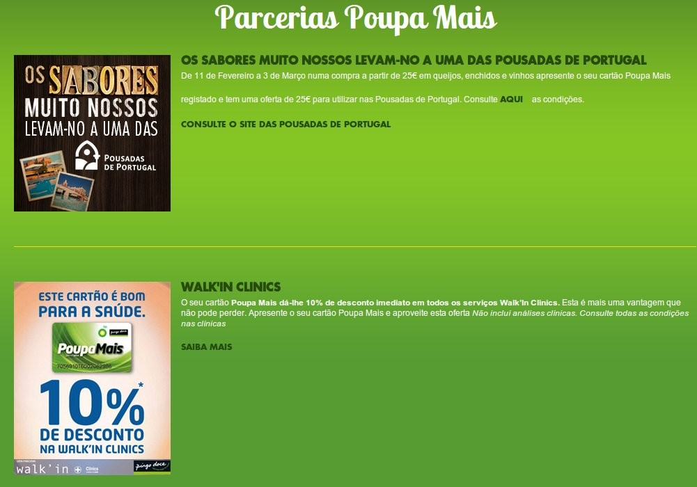 Parcerias | PINGO DOCE | Cartão Poupa mais