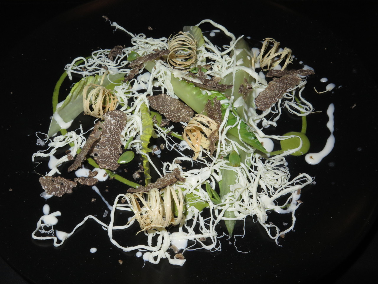 Salad with quesillo, black truffle and guage