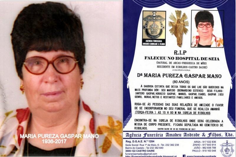 FOTO E RIP DE  MARIA PUREZA GASPAR MANO-80 ANOS (R