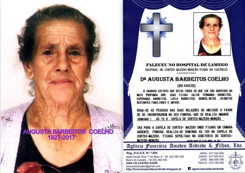 FOTO RIP DE AUGUSTA BARBEITOS COELHO -89 ANOS (MON