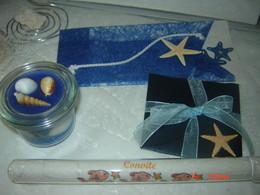 Convites e velas de gel c/decoração