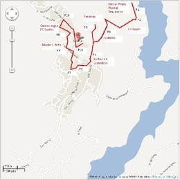 Percurso de orientação (cor vermelha)