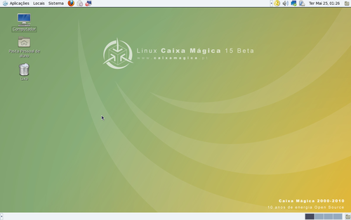 Ambiente de Trabalho Gnome em Linux Caixa Mágica 15 Beta