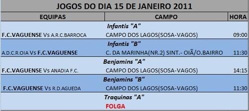 JOGOS FIM DE SEMANA --- DIA 15 JANEIRO - SÁBADO