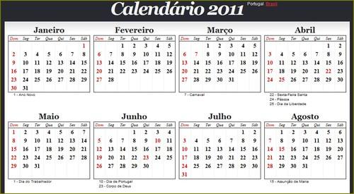 calendário 2011 portugal