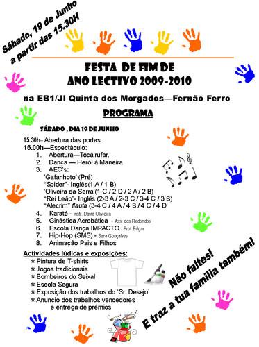 Program da festa de final de ano lectivo 2009/2010