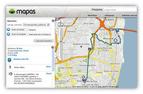 Itinerário SAPO Mapas