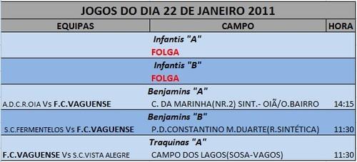 JOGOS FIM DE SEMANA --- DIA 22 JANEIRO - SÁBADO