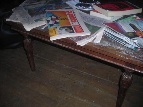 Arepas, livros, revistas, jornais