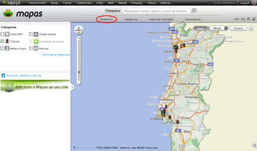 Itinerários com trânsito - SAPO Mapas