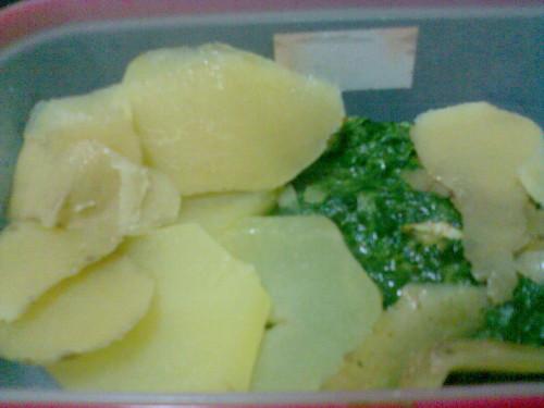 Batatas com Espinafre e Gambas