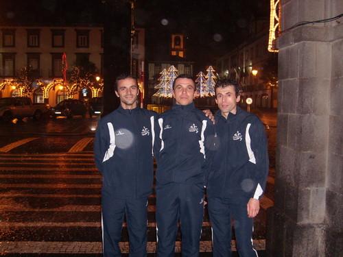 Três dos quatro atletas que se deslocaram aos Açores...