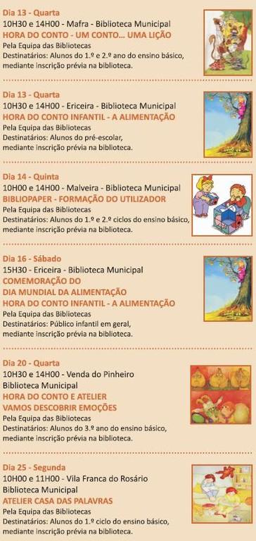 Bibliotecas Escolas - Agenda Outubro