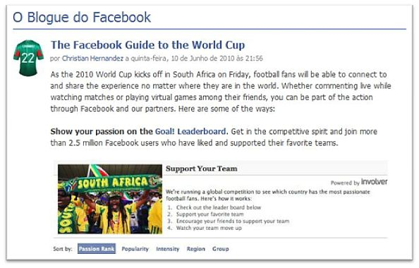 facebook mundial 2010