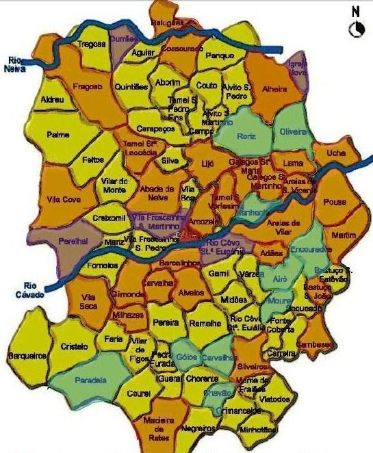 mapa de barcelos MAPA DE FREGUESIAS   ORDEM DE AVIS mapa de barcelos