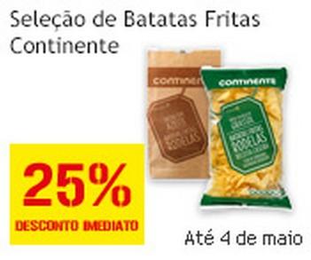 25% de desconto | CONTINENTE | até 4 maio, Batatas fritas Continente
