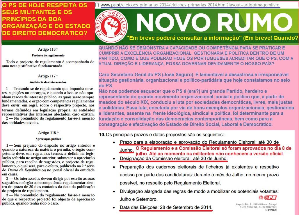 partido socialista ps eleições primárias diretas secretário geral primeiro ministro António Costa e José Seguro