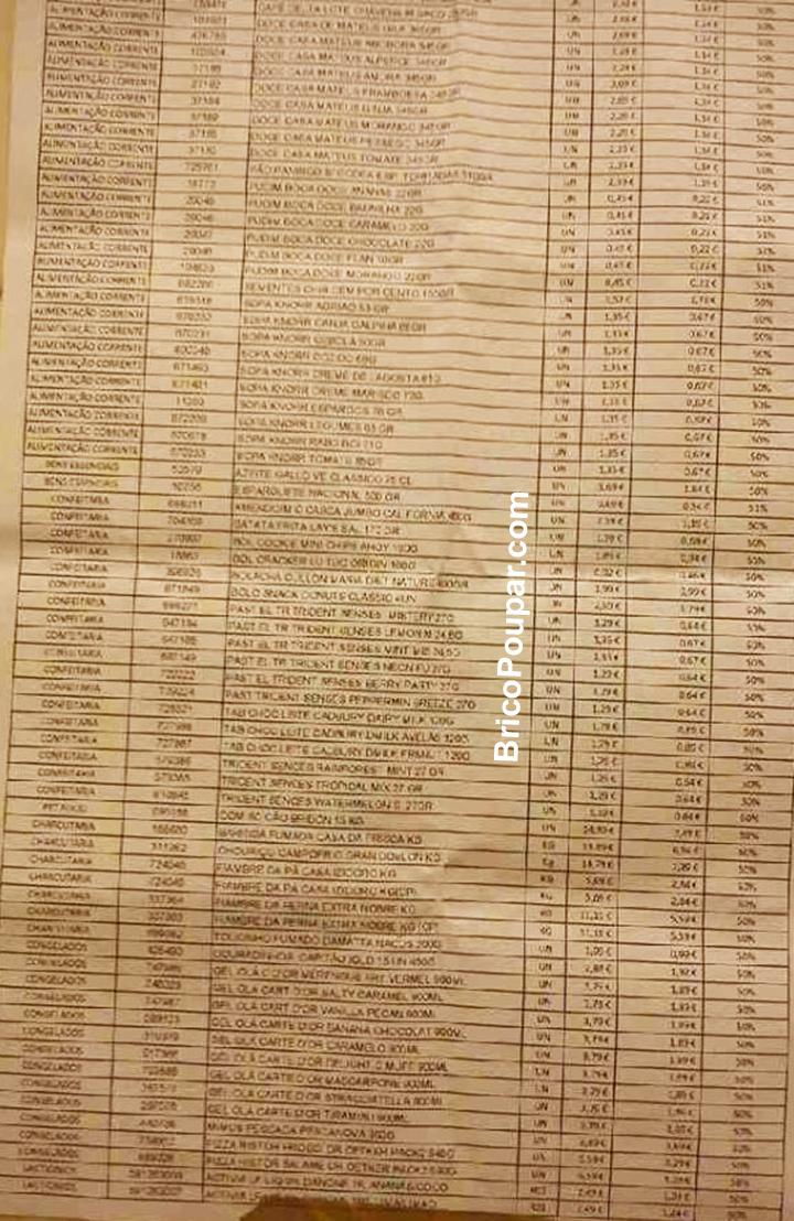 Antevisão da Lista de 60 Produtos com desconto 50% desconto Pingo Doce