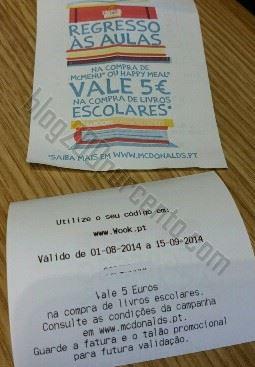 Vale de 5€ WOOK / MCDONALD'S Regresso às aulas