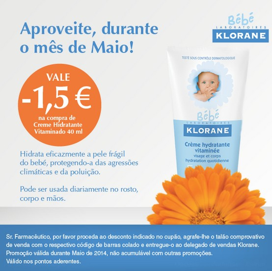 Vale de desconto de 1,50€ | KLORANE | durante o mês de maio