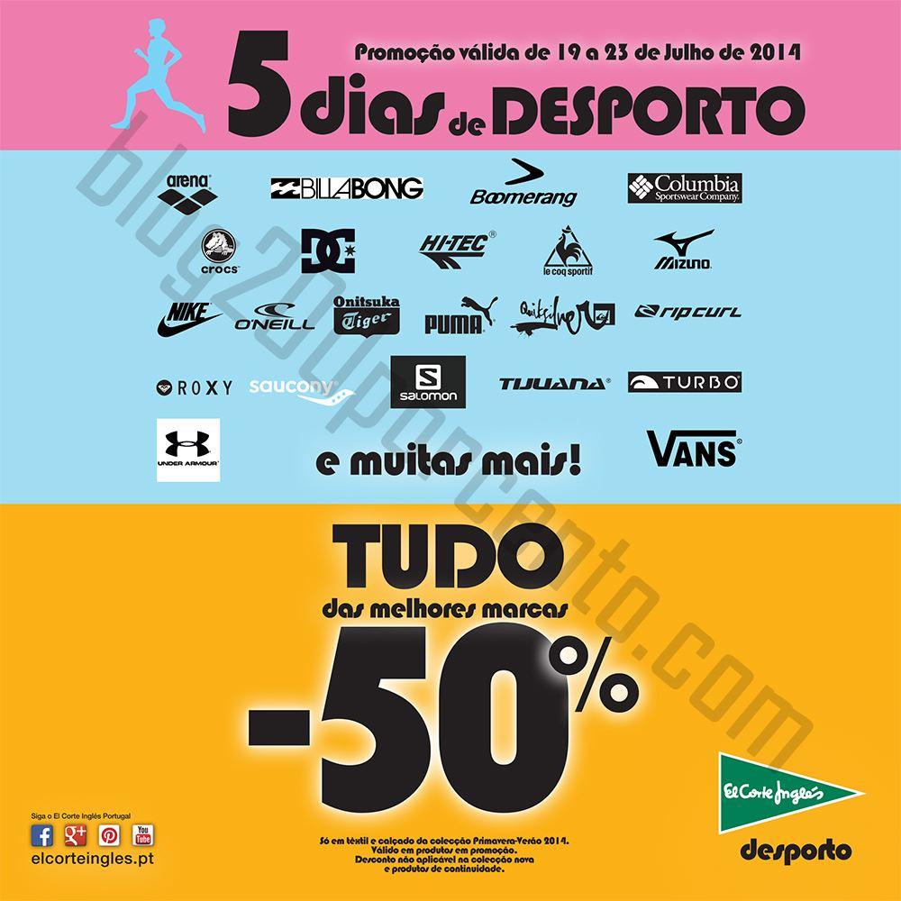Promoções 50% em marcas desporto EL CORTE INGLÉS de 19 a 23 julho