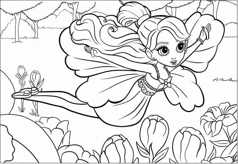 Barbie polegarzinha fairytopia para colorir pintar