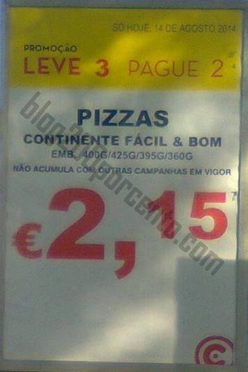 Avistamento CONTINENTE Leve 3 pague 2 - Pizzas Frescas