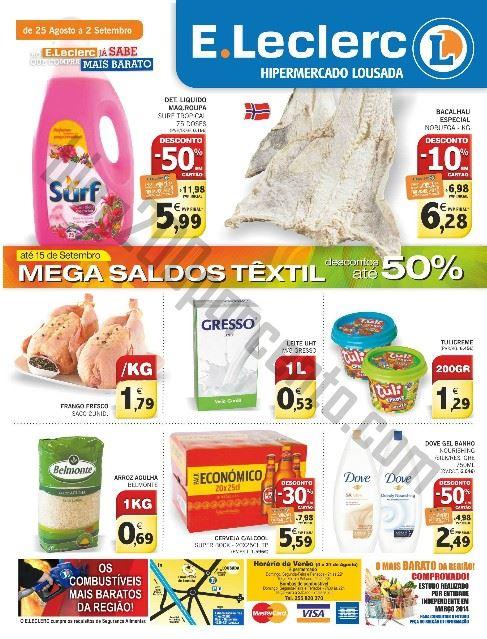 Antevisão Folheto E-LECLERC Lousada Promoções de 25 agosto a 2 setembro